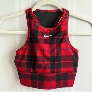 Nike Everything Plaid Sports Bra Red Size XS